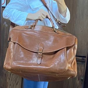 POLO Tan Leather Large Weekender Travel Bag